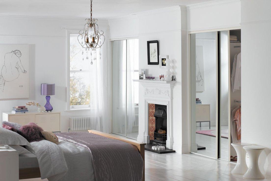 page s diy ltd 4 door white frame mirror sliding wardrobe door kit
